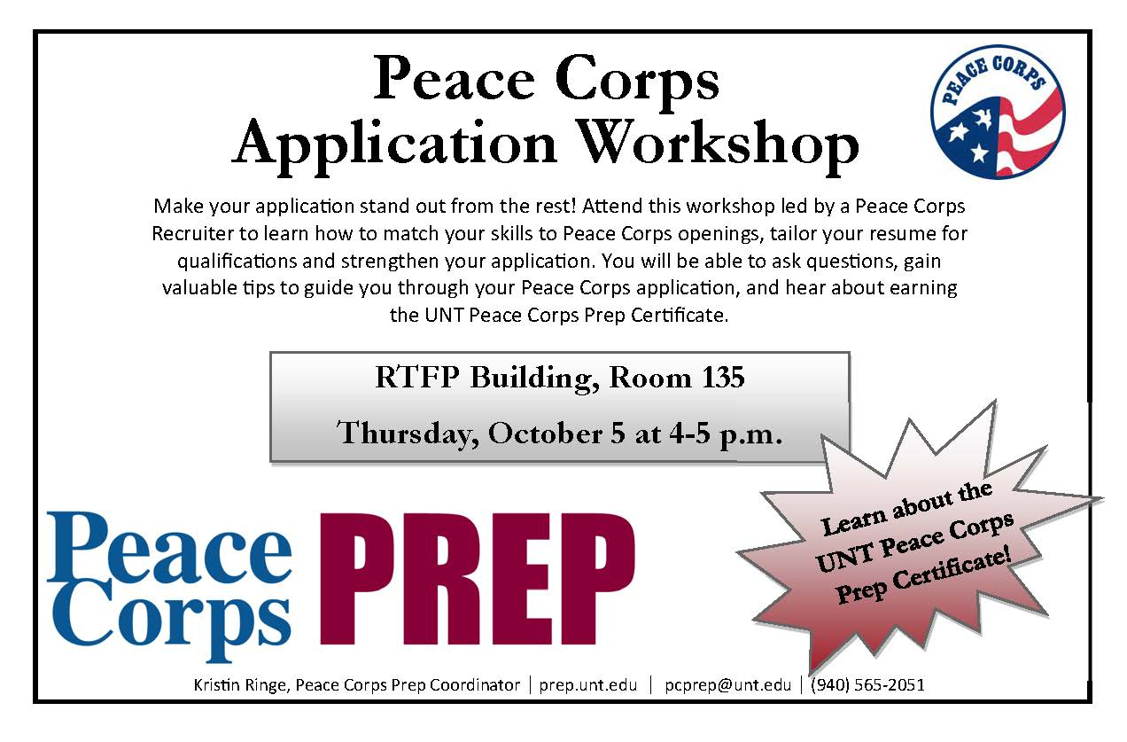 peace corps application workshop informational session